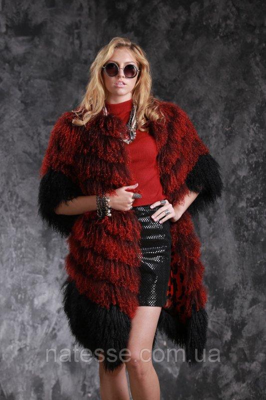 """Шуба жилет из испанской ламы рукава съемные цвета """"Бордо"""""""