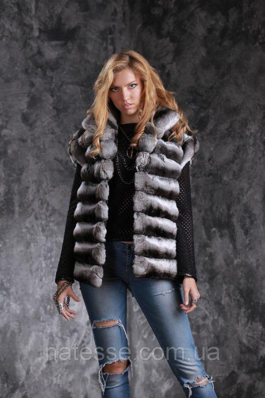 Жилет из шиншиллы  Natural chinchilla fur vest gilet