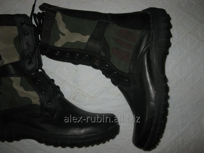 Купить Ботинки черные со вставками камуфляж