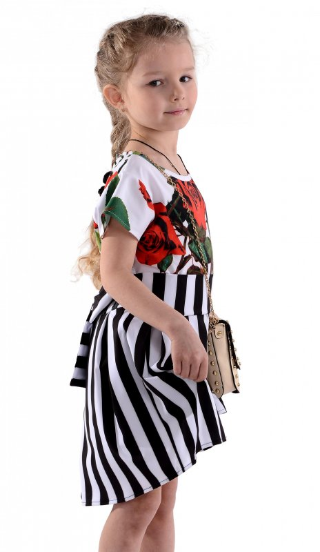 Купить Эффектное белое платье с розами и юбкой в полоску