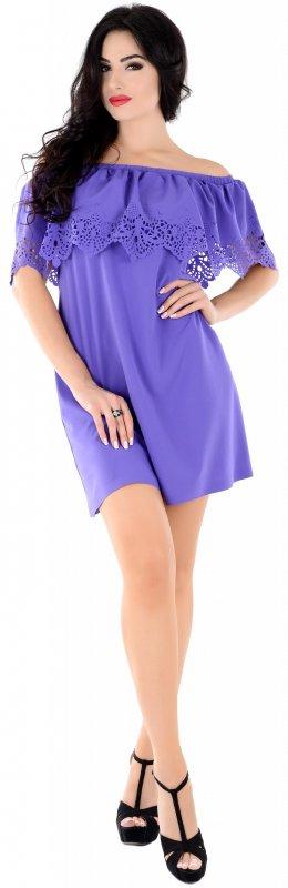 Купить Эффектное легкое платье фиолетового цвета с открытыми плечами