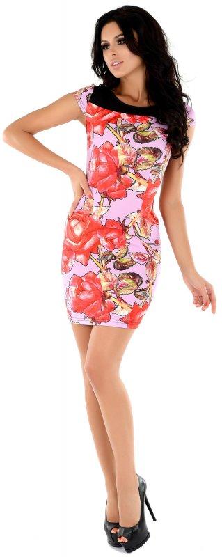Купить Эффектное летнее платье розового цвета с цветочным принтом