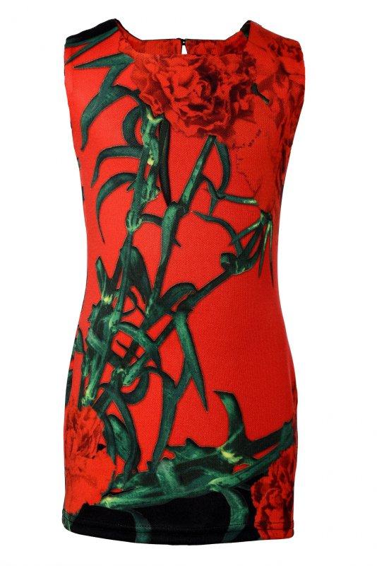 Купить Эффектное платье красного цвета с гвоздиками