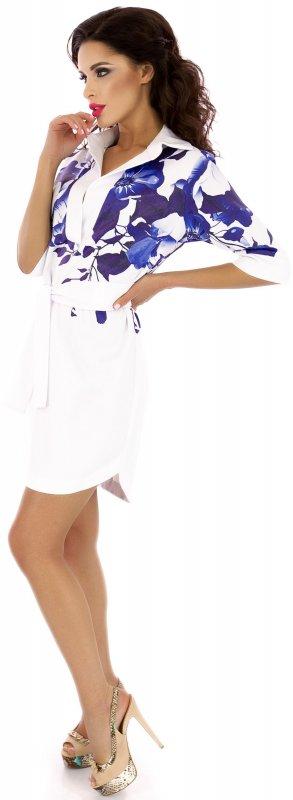 Купить Эффектное платье-туника белого цвета с поясом
