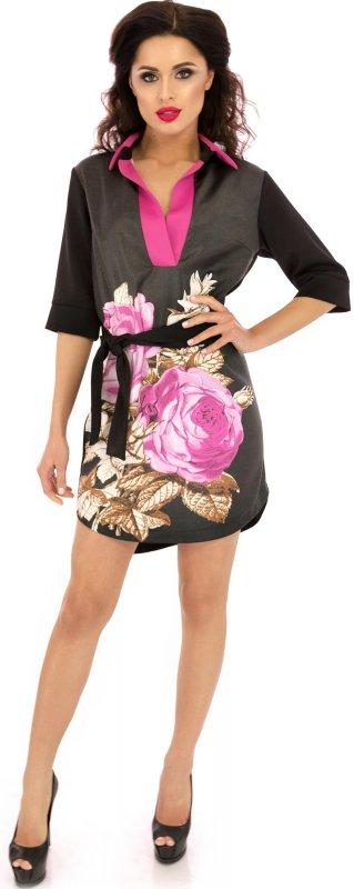 Купить Эффектное платье-туника черного цвета с поясом