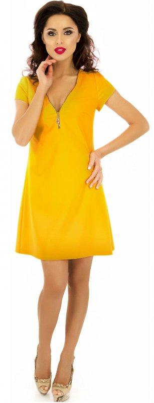 Купить Эффектное повседневное платье горчичного цвета с коротким рукавом