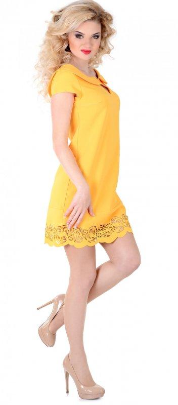 Купить Эффектное повседневное платье желтого цвета с коротким рукавом