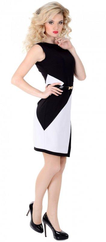 Купить Элегантное повседневное платье бело-черного цвета без рукавов