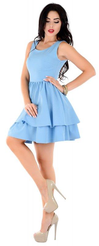 Купить Кокетливое летнее платье голубого цвета без рукавов