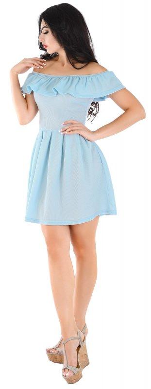 Купить Кокетливое летнее платье голубого цвета с оборкой