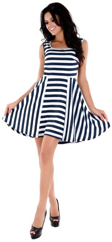 Купить Кокетливое повседневное платье в полоску без рукавов