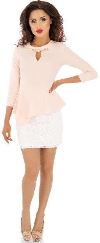 Купить Кокетливое вечернее платье персикового цвета с длинным рукавом