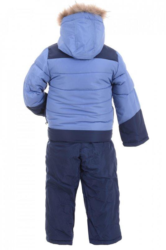 Купить Стильный теплый костюм голубого цвета с мехом