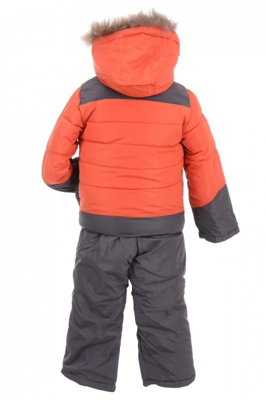 Купить Стильный теплый костюм оранжевого цвета с мехом