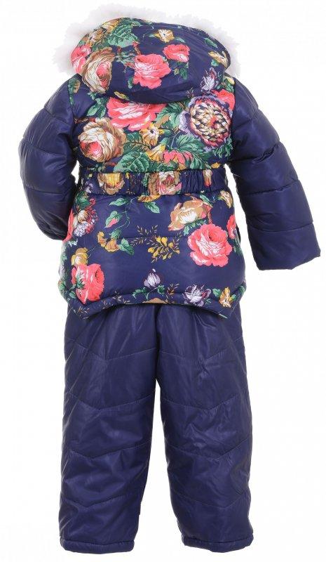 Купить Милый теплый костюм синего цвета с цветами