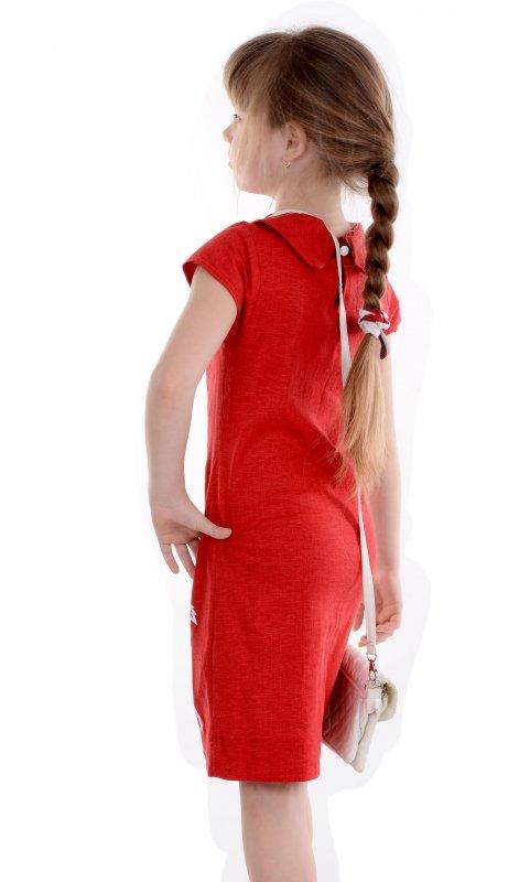 Купить Яркое летнее платье красного цвета с аппликацией