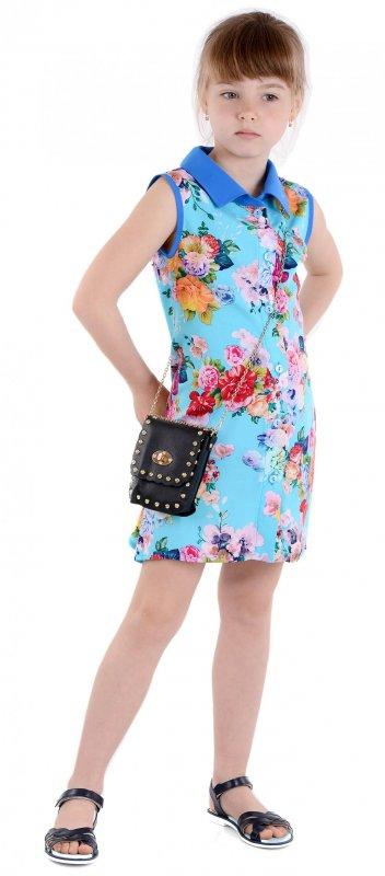 Купить Красивое летнее платье-рубашка голубого цвета без рукавов