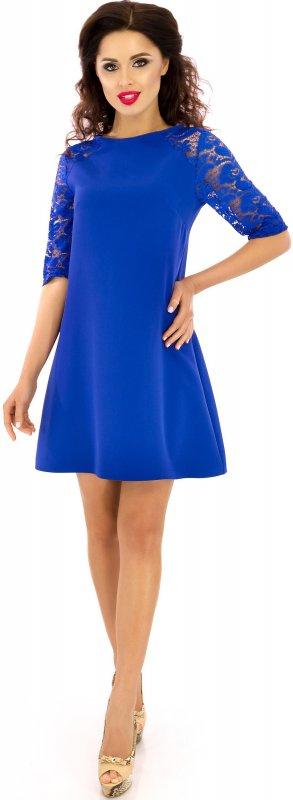 Купить Красивое повседневное платье синего цвета с длинным рукавом