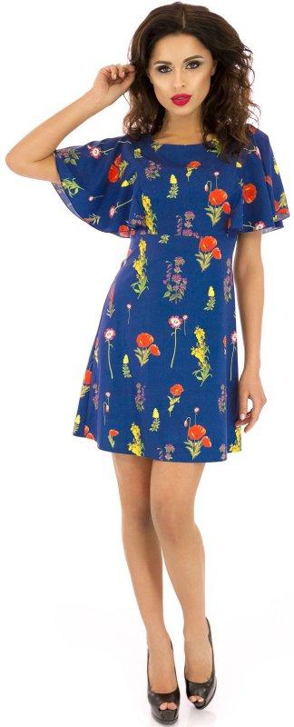 Купить Легкое повседневное платье синего цвета с коротким рукавом