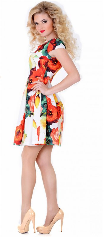 Купить Милое летнее платье белого цвета с коротким рукавом