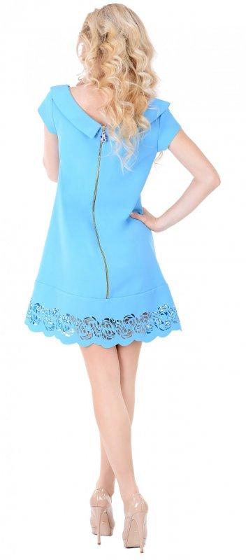 Купить Милое летнее платье голубого цвета с пефорацией