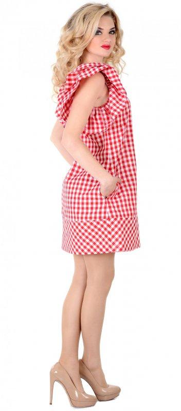 Купить Милое летнее платье красно-белого цвета с коротким рукавом