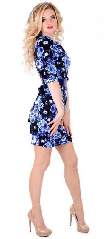 Купить Милое платье синего цвета с коротким рукавом