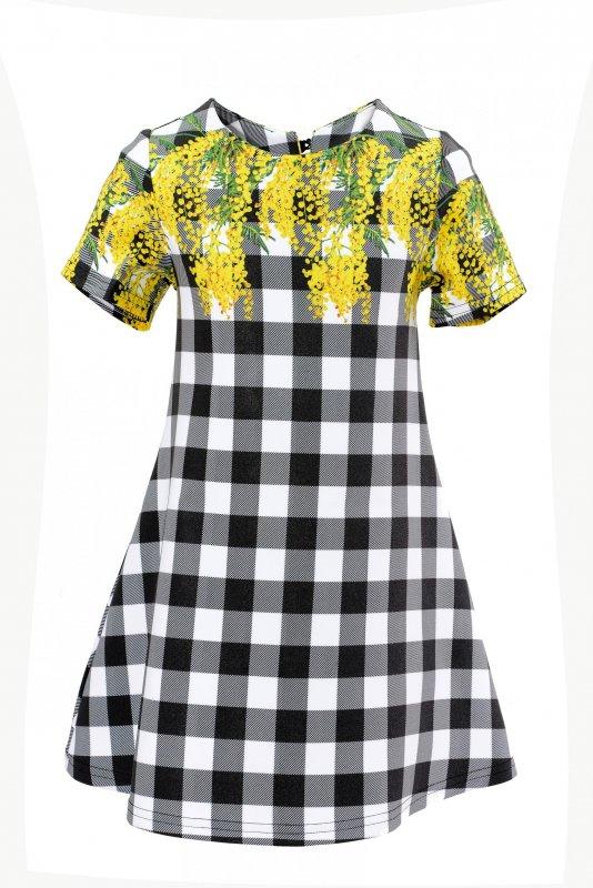 Купить Милое платье в черно-белую клетку с мимозами