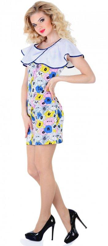 Купить Милое повседневное платье сине белого цвета без рукавов