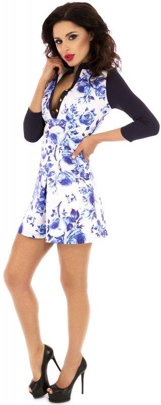 Купить Милое повседневное платье бело-голубого цвета с длинным рукавом