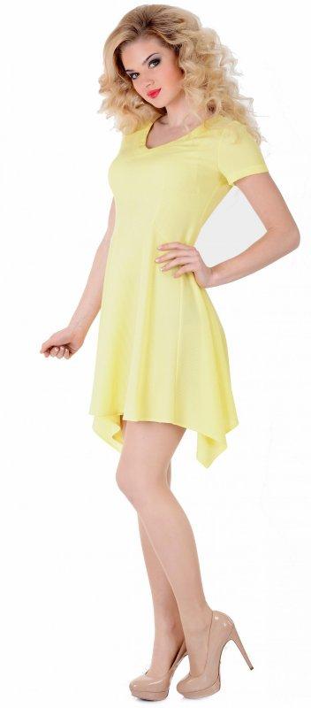 Купить Милое повседневное платье желтого цвета с коротким рукавом