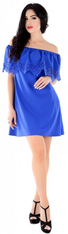 Купить Модное легкое платье синего цвета с оборкой