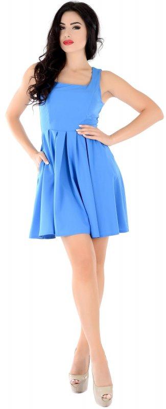 Купить Модное летнее платье голубого цвета без рукавов