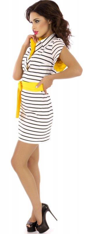 Купить Модное платье белого цвета в полоску с поясом