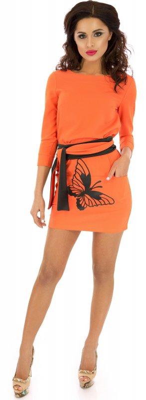 Купить Модное повседневное платье оранжевого цвета с длинным рукавом