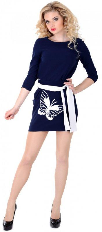 Купить Стильное повседневное платье синего цвета с длинным рукавом