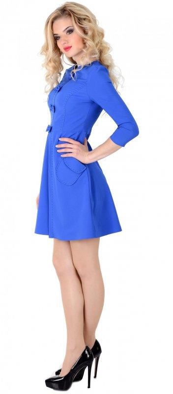 Купить Трендовое повседневное платье синего цвета с длинным рукавом