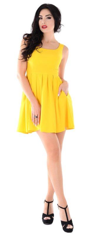 Купить Молодежное летнее платье желтого цвета без рукавов