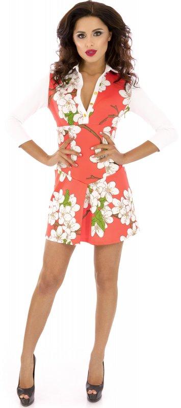 Купить Молодежное повседневное платье кораллового цвета с длинным рукавом