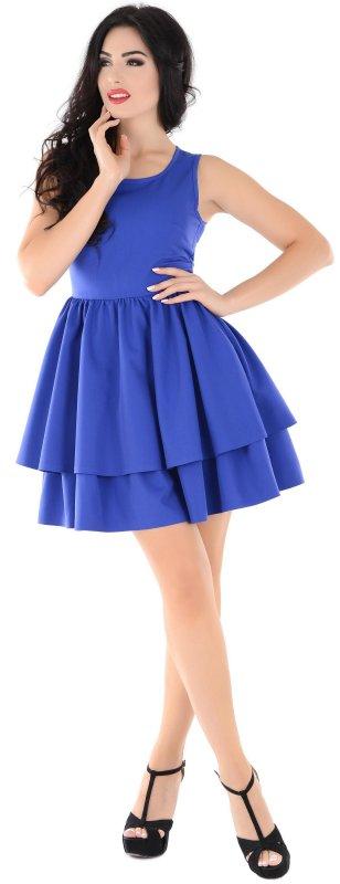 Купить Необычное летнее платье синего цвета без рукавов