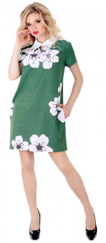 Купить Необычное летнее платье зеленого цвета с коротким рукавом