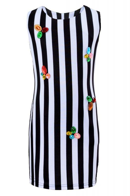 Купить Необычное платье-сарафан в черно-белую полоску