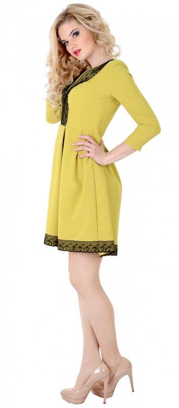 Купить Необычное повседневное платье горчичого цвета