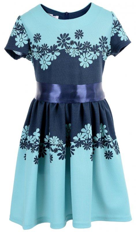 Купить Нежное детское платье зеленого цвета с коротким рукавом
