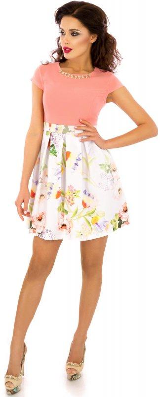 Купить Нежное летнее платье персикового цвета с коротким рукавом