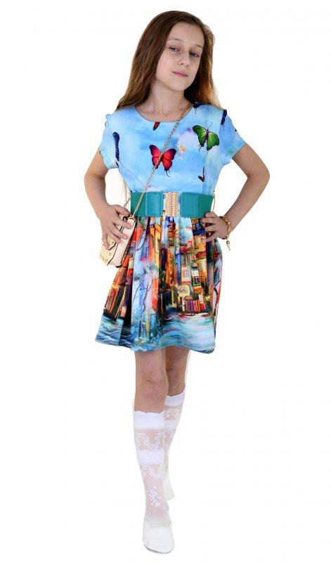 Купить Необычное платье голубого цвета с поясом и рисунком