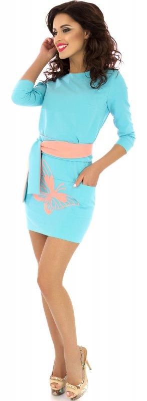 Купить Нежное повседневное платье голубого цвета с длинным рукавом