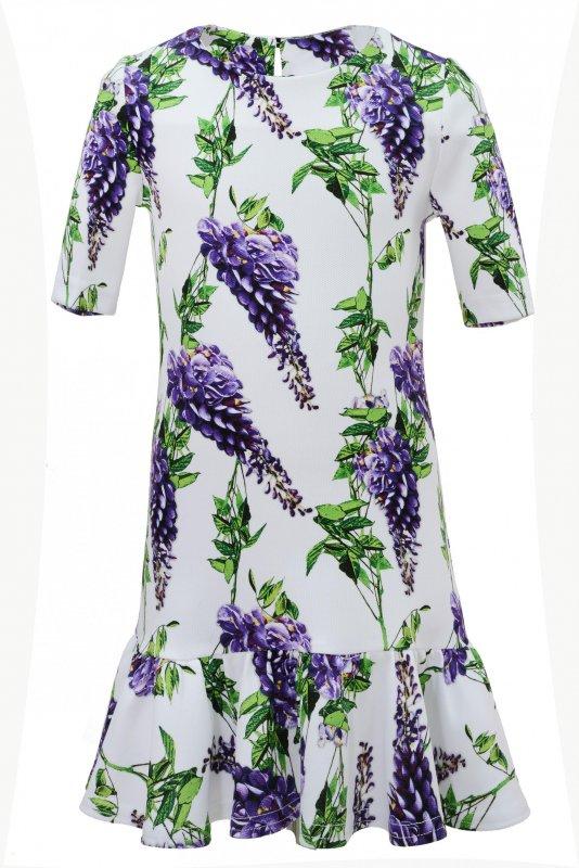 Купить Очаровательное белое платье с сиреневыми цветами