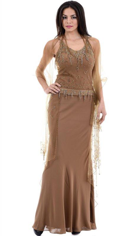 Купить Роскошное вечернее платье бежевого цвета без рукавов