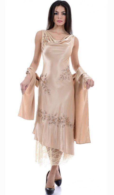 Купить Красивое вечернее платье бежевого цвета без рукавов